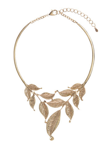 Metallic Textured Leaf Necklace , , hi-res