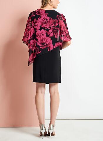 Robe poncho à fleurs et épaules dénudées, , hi-res