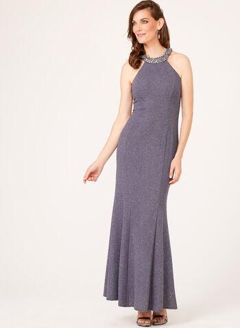 Robe sirène texturée à col Cléopâtre orné de perles, , hi-res