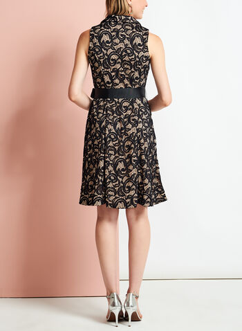 Lace Collared Fit & Flare Dress, , hi-res