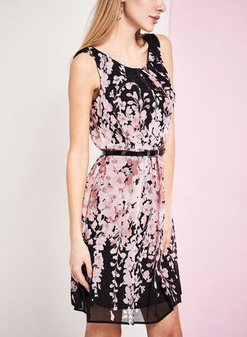 Belted Floral Print Chiffon Dress, , hi-res