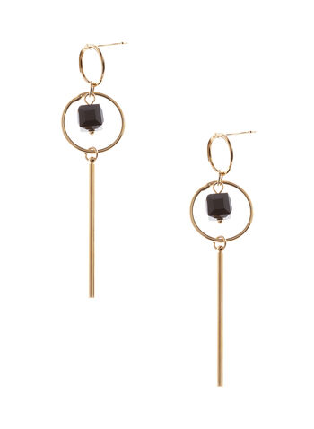 Contrast Hoop Bar Earrings, , hi-res