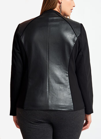Ponte & Faux Leather Jacket, , hi-res