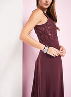 Sequined Lace Halter Neck Gown , Red, hi-res