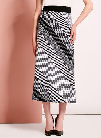 Graphic Stripe Print Midi Skirt, , hi-res