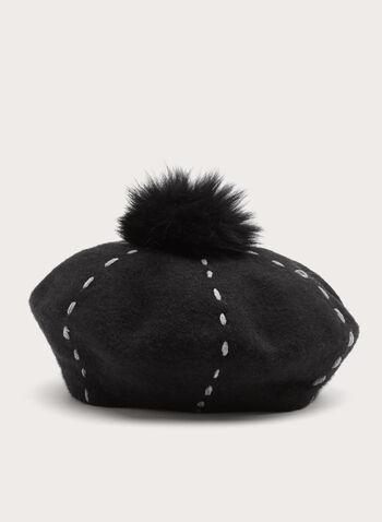 Fur Pompom Wool Hat, , hi-res