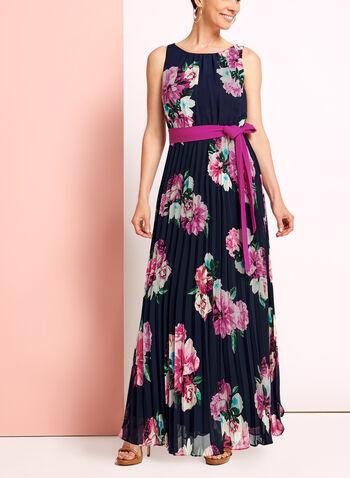 Floral Print Pleated Dress, , hi-res