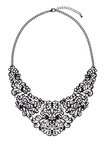 Lace Effect Filigree Bib Necklace, , hi-res