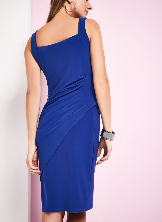 Picadilly - Sleeveless Side Tuck Jersey Dress, Blue, hi-res