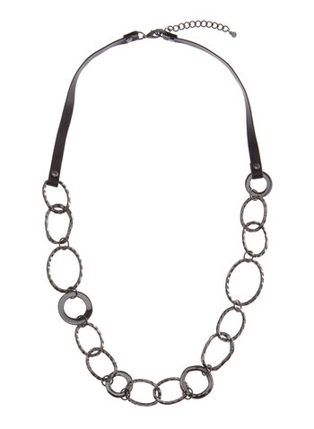 Hammered Chain Link Necklace, , hi-res