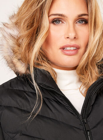 Novelti - Faux Fur Hooded Quilted Coat, , hi-res