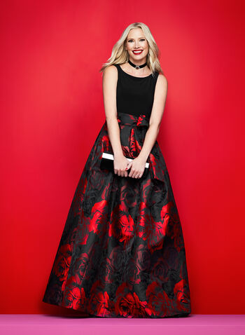 Rose Print Fit & Flare Gown, , hi-res