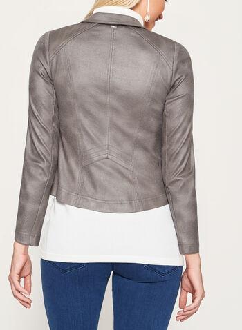Vex - Faux Suede Zipper Trim Jacket, , hi-res