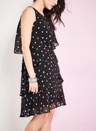 Tiered Dot Print Dress, Black, hi-res