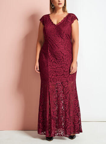 Scalloped Floral Lace Mermaid Gown, , hi-res