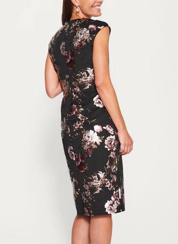 Metallic Floral Print Scuba Dress, , hi-res