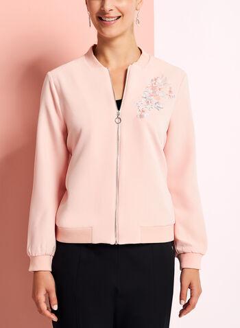 Embroidered Floral Bomber Jacket, , hi-res