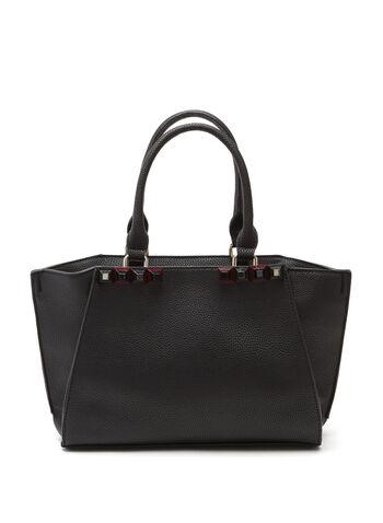 Studded Faux Leather Satchel, , hi-res