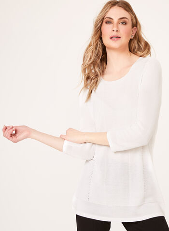 Shaker Stitch Tunic Sweater, Off White, hi-res