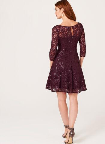 Sequin Lace Fit & Flare Dress , , hi-res