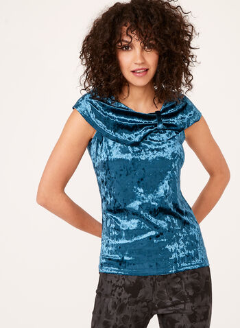 Off The Shoulder Crushed Velvet Top, , hi-res