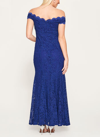 Glitter Lace Off The Shoulder Gown, , hi-res