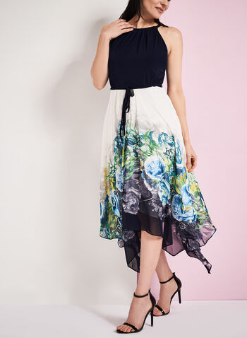 Floral Print Shark Bite Hem Dress, , hi-res
