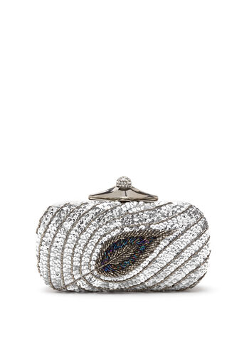 Beaded Sequin Clutch, , hi-res