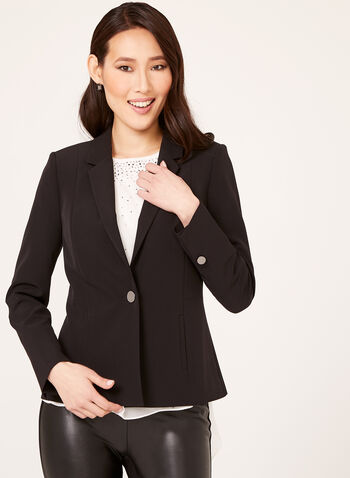 Single Button Fitted Blazer, , hi-res