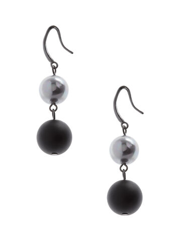 Matte & Shiny Tiered Dangle Earrings , , hi-res
