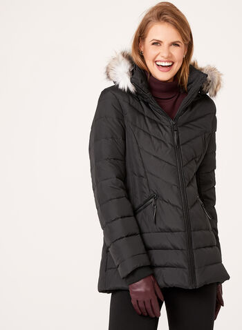 Novelti - Faux Fur Trim Quilted Down Coat, , hi-res