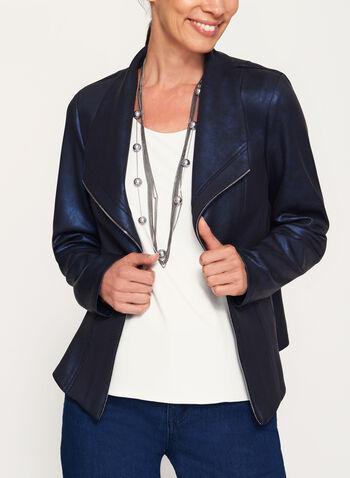 Faux Leather Scuba Knit Jacket, , hi-res