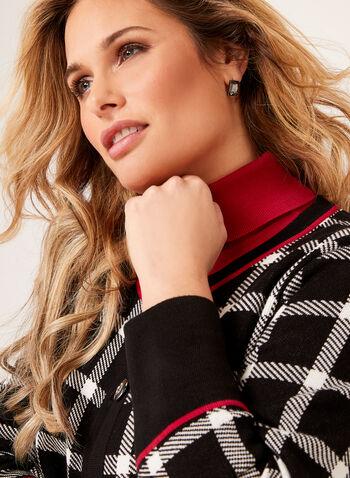 Cardigan carreauté en tricot contrastant, , hi-res