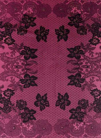 Floral Lace Print Square Scarf , , hi-res