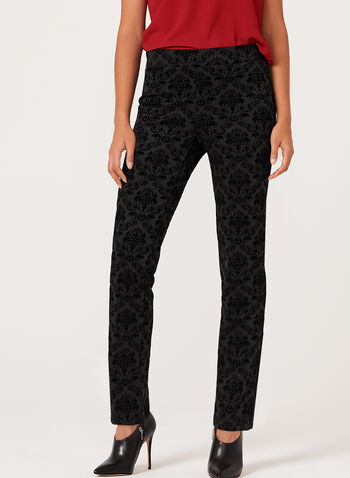 Flocked Pull-On Slim Leg Pants, , hi-res