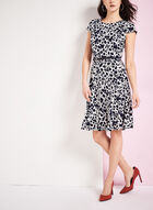 Abstract Print Fit & Flare Dress, Blue, hi-res