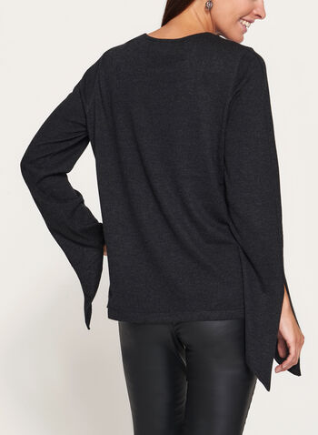 Scoop Neck Tie Sleeve Sweater, , hi-res