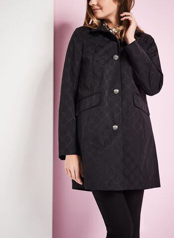 Novelti Jacquard A-Line Coat , , hi-res