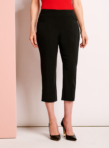 Pull-On Stretch Rivet Trim Capris, , hi-res