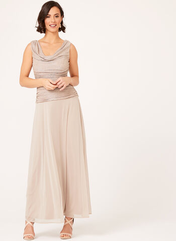 Cowl Neck Glitter Chiffon Gown, , hi-res