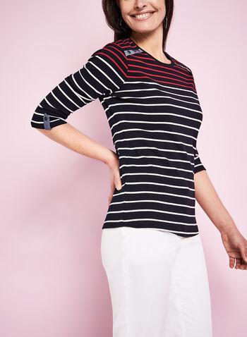 3/4 Sleeve Stripe Print T-Shirt, , hi-res