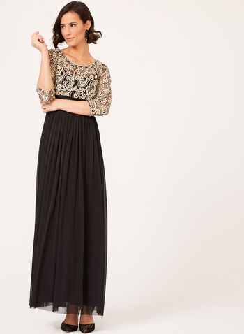 Beaded Lace Mesh Gown, , hi-res