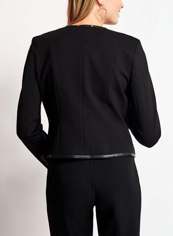Faux Leather Studded Ponte Blazer, , hi-res