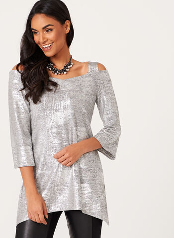 Metallic Cold Shoulder Knit Tunic, , hi-res