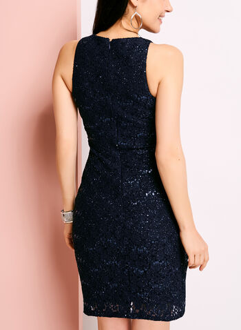 Glitter Lace Mesh Sheath Dress, , hi-res