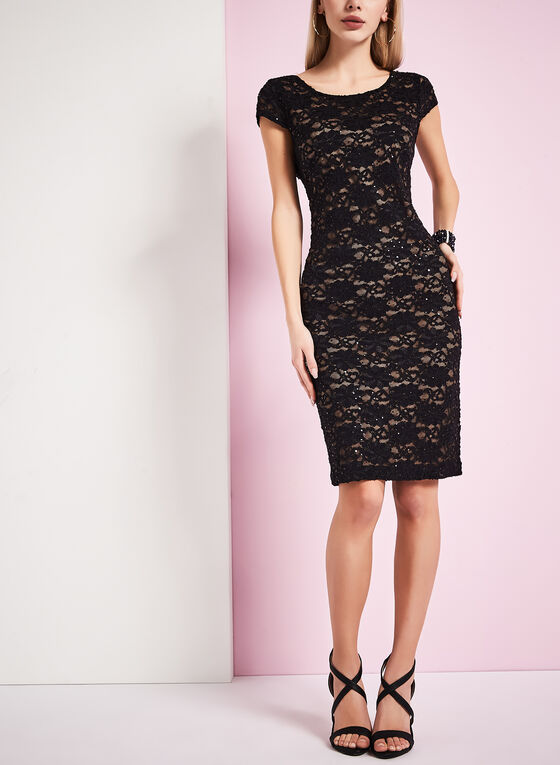 Sequined Lace Sheath Dress, Black, hi-res