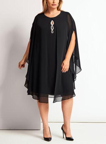 Robe en crêpe avec cape et détails couture, , hi-res
