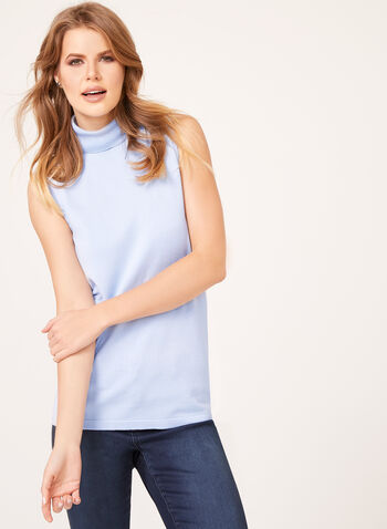 Sleeveless Turtleneck Sweater, Blue, hi-res