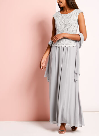 Sequin Lace Embellished Dress with Shawl, , hi-res