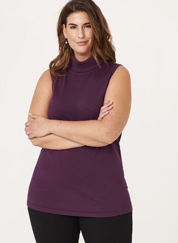 Sleeveless Funnel Neck Sweater, Purple, hi-res